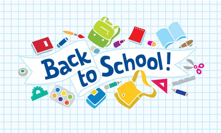 Vector illustration or design template of  logo or lettering Back to School with education supplies and doodle lines Vettoriali