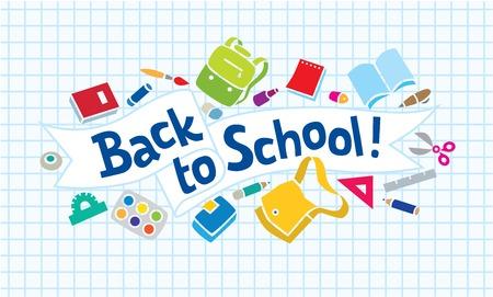 mochila escolar: Ilustraci�n vectorial o una plantilla de dise�o de logotipo o letras regreso a la escuela con las fuentes de educaci�n y las l�neas del doodle Vectores