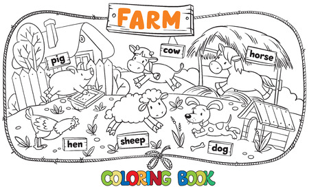 Great coloring book with funny farm baby animals, sheep and pig, chicken and dog, horse and cow with a wooden board tables and frame in a shape of the rope Vectores