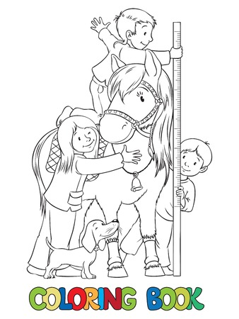 Coloring book or coloring picture of one girl and two boys which measures the growth of pony