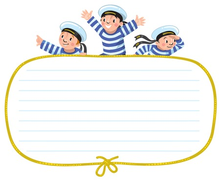 sailer: Banner or card with happy sailors Illustration