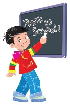 writes: Funny smiley schoolboy writes by chalk on a blackboard Back to School Illustration
