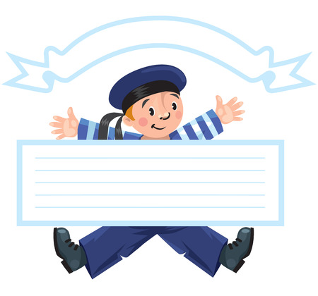 baner: Template baner or greeting card with happy jolly boy sailor in vest and sailor hat, including a cartouche and place for inscription