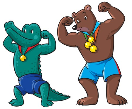 mighty: Children vector illustration of strong bear-winner with three medals and funny crocodile-winner with one medal Illustration