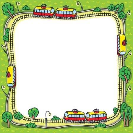 grass area: Square greeting card or design template with a vector picture of trams on the tram tracks and green areas