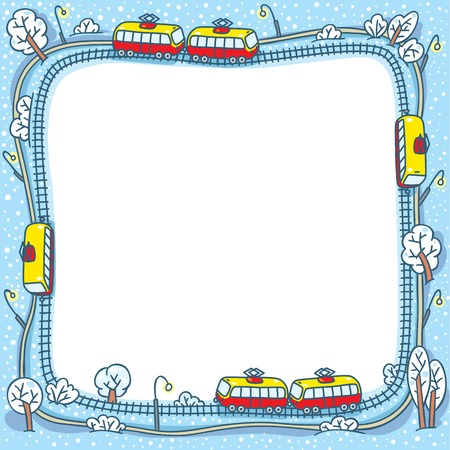 snow track: Square greeting card or design template with a vector picture of trams on the tram tracks in the winter