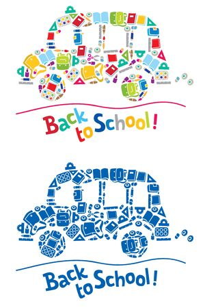 Vector illustration or design template of school bus made from school supplies, and logo or lettering Back to School. Includes monochrome version