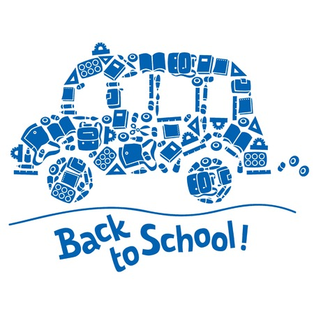 Vector illustration or design template of monochrome school bus made from school supplies, and logo or lettering Back to School