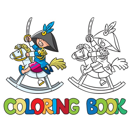 smal: Coloring book or coloring picture of smal brave boy on wooden horse in general uniform with sword Illustration