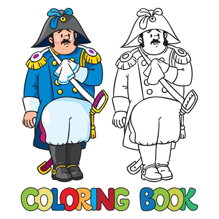 cocked hat: Coloring book or coloring picture of sad general or officer Illustration