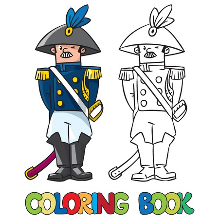 cocked hat: Coloring book or coloring picture of general or officer