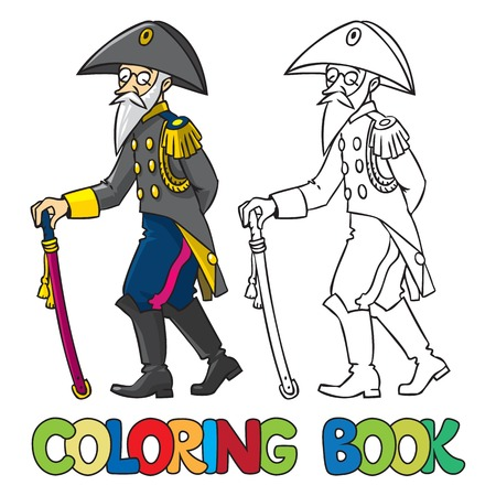 cocked hat: Coloring book or coloring picture of old general or officer Illustration