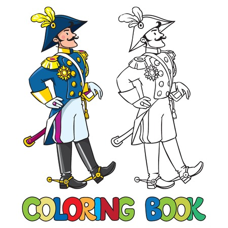 cocked hat: Coloring book or coloring picture of handsome general or officer
