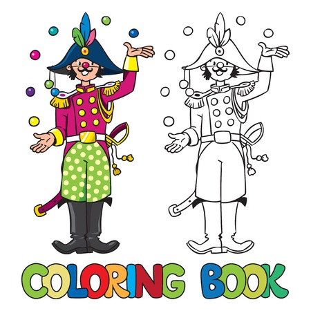 cocked hat: Coloring book or coloring picture of funny general or the clown or juggler in the form of General