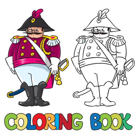 Coloring book or coloring picture of fat general or officer Illustration