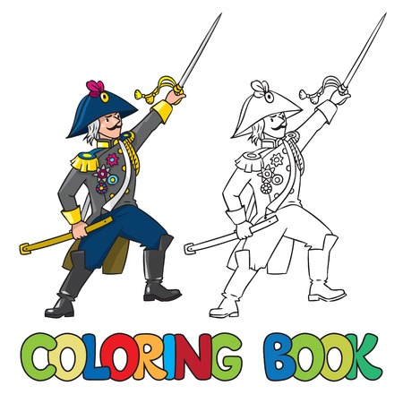 cocked hat: Coloring book or coloring picture of brave general or officer with sword Illustration