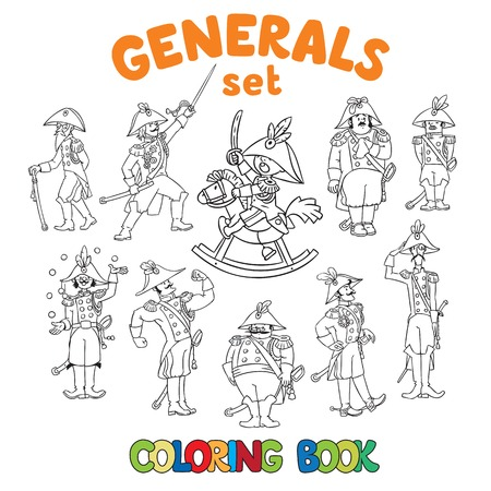 cocked hat: Coloring book or coloring picture set of different generals or officers. Children vector illustration Illustration