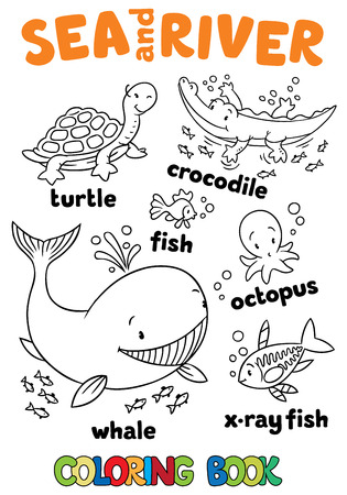 색칠하기 책 또는 착색 사진이 작은 재미 바다와 강 물고기와 동물 세트