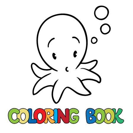 Libro Para Colorear O Imagen Coloración De Pequeño Pulpo Divertido ...