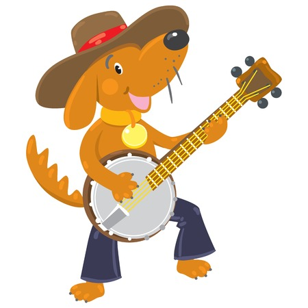 Children vector illustration of funny little brown dog or puppy in blue jeans and hat plays the banjo 向量圖像