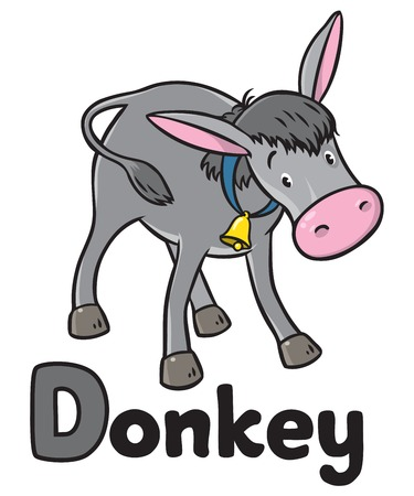 drumming: Children vector illustration of funny gray donkey Illustration
