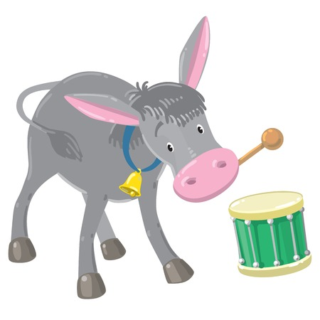 drumming: Children vector illustration of funny gray donkey plays the drum