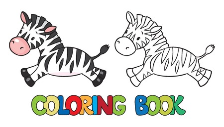 zebra: Coloring book or coloring picture of little funny zebra runs on savannah