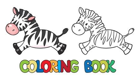 cebra: Libro para colorear o imagen coloraci�n de cebra poco gracioso ejecuta en la sabana