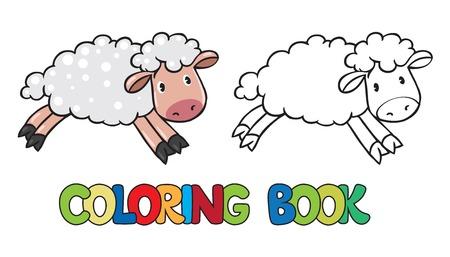 oveja: Libro para colorear o imagen coloración de pequeña oveja divertida a lo largo del camino Vectores