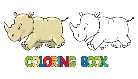 clumsy: Coloring book or coloring picture of little funny rhino, running down the road Illustration