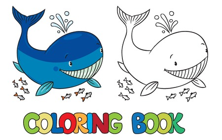 Coloring book or coloring picture of funny little whale 向量圖像