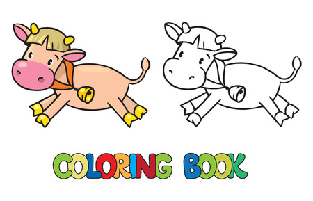 funny picture: Coloring book or coloring picture of funny cow Illustration