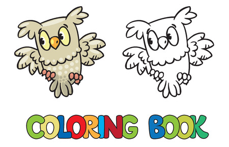 funny picture: Coloring book or coloring picture of little funny owl