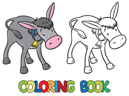 ears donkey: Coloring book or coloring picture of funny donkey with bell on stripe on his neck Illustration