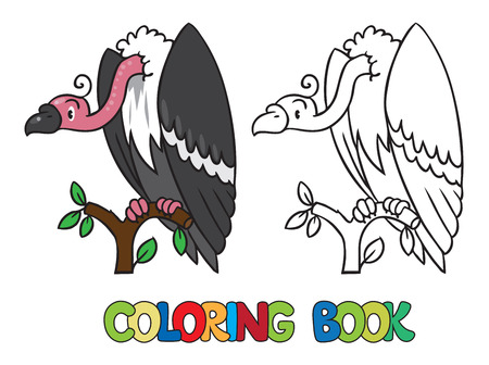 prairie: Coloring book or coloring picture of funny vulture sitting high on a branch above the Prairie