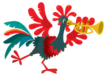 Children vector illustration of funny little rooster plays the trumpet. Vettoriali