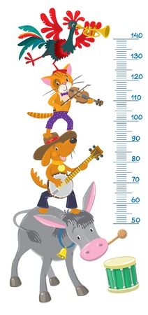 Meter wall or height meter with funny Bremen Town Musicians