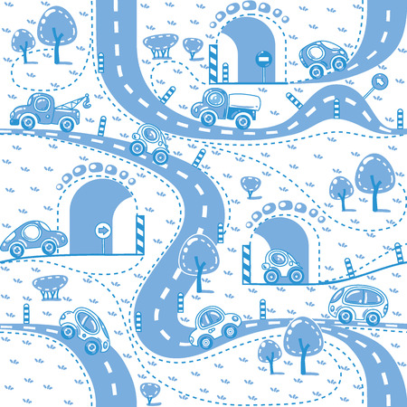 grass area: Seamless monochrome pattern of small funny cars on the road with trees and grass area. Children vector illustration