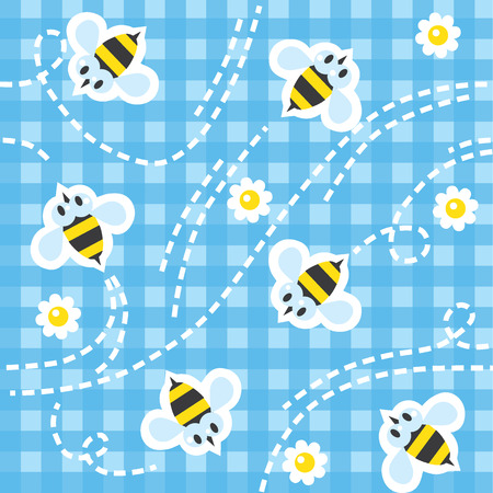 checkered tablecloth: Seamless pattern with funny flying bees and flowers on blue checkered tablecloth background. Children vector illustration