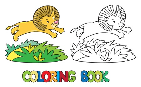 jungle jumping: Coloring book or coloring picture of little funny lion jumping out of the jungle