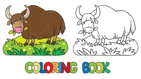 grazing: Coloring book or coloring picture of funny grazing wild yak