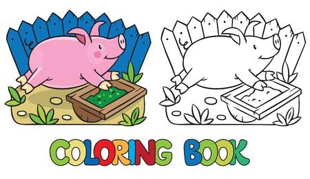 piglet: Coloring book of little funny little pig or piglet Illustration