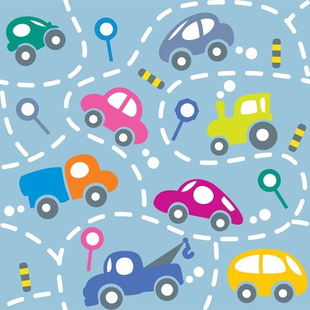 abstract wallpaper: Seamless vector background of small funny vector cars and signs with dashed lines like road, for packin paper, diaper or wallpaper in children room.