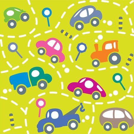 dashed: Seamless vector background of small funny vector cars and signs with dashed lines like road, for packin paper, diaper or wallpaper in children room.