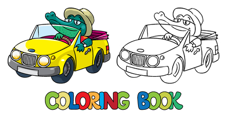 cabrio: Coloring book or coloring picture of  funny Crocodile-driver in hat on yellow car Illustration