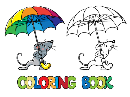 surprisingly: Coloring book or coloring picture of  mouse with rainbow-colored umbrella