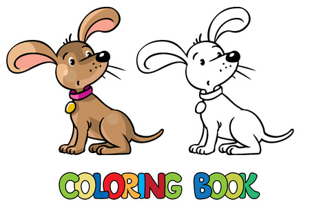 doggie: Coloring book or coloring picture of  funny little dog or puppy