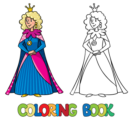 Coloring book or coloring picture of beautiful queen or princess in medieval dress, the crown and the mantle, with long blonde curly hair