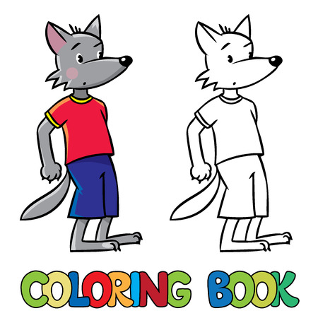 three little pigs: Coloring book or coloring picture of surprised little funny wolf. Children vector illustration