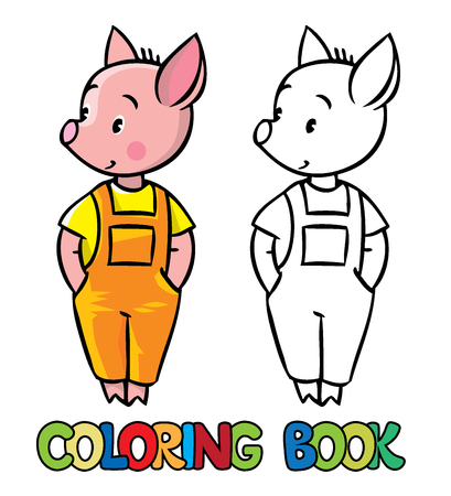 pigling: Coloring book or coloring picture of little piglet in orange overall. Illustration